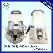 100mm 3 Kiefer CNC. Achse CNC teilapparat/Drehachse/A cnc-5-achsen-kit Nema23 Gapless harmonische getriebe + Reitstock für CNC maschine