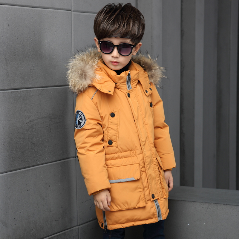 Mioigee 2017 Natural fur Boys winter down coat children clothing warm Jackets Coats Kids thick cotton down jacket outlet Brand 2017 children wool fur coat winter warm natural 100% wool long stlye solid suit collar clothing for boys girls full jacket t021