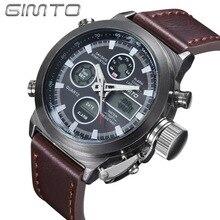 Модные Для мужчин часы лучший бренд GIMTO Спорт часы светодио дный Дисплей наручные Повседневное кожаным ремешком Водонепроницаемый Montre Homme GM201