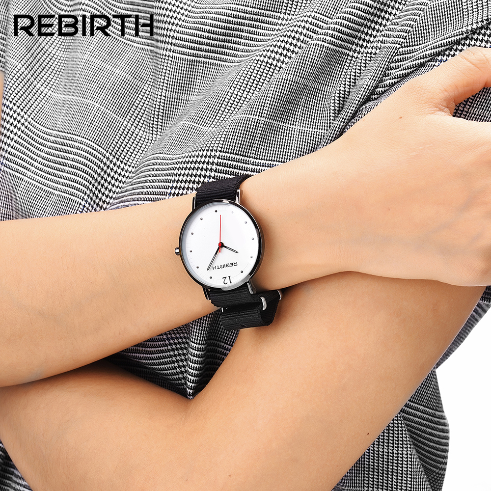 Utral slim nylon strap young people simple fashion watches waterproof REBIRTH brand minimalism quartz-watch with red pointer new chaos abstract design simple watches for young people rebirth fashion brand quartz watch with comfortable leather strap
