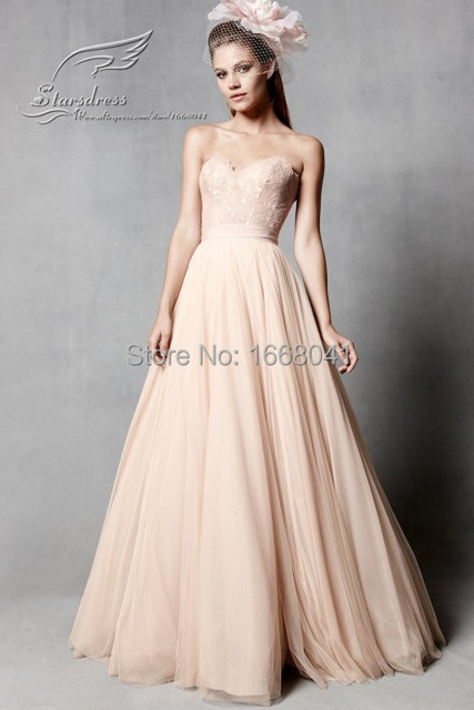 7e00a241dcba 2016 Fashion A-line Floor Length Sweetheart Beautiful Simple Tulle Blush  Wedding Dresses Lace Top Real Charming Bridal Gown