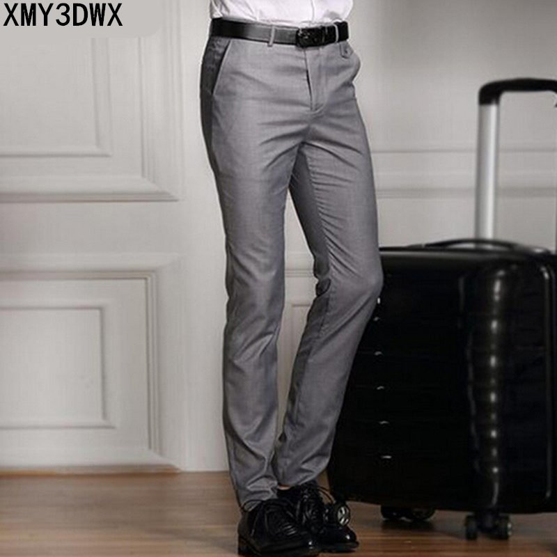 2018 Spring And Summer Male Casual Dress Pants Slim Skinny Men Suit Pants Commercial Western-Style Business Herren Hose