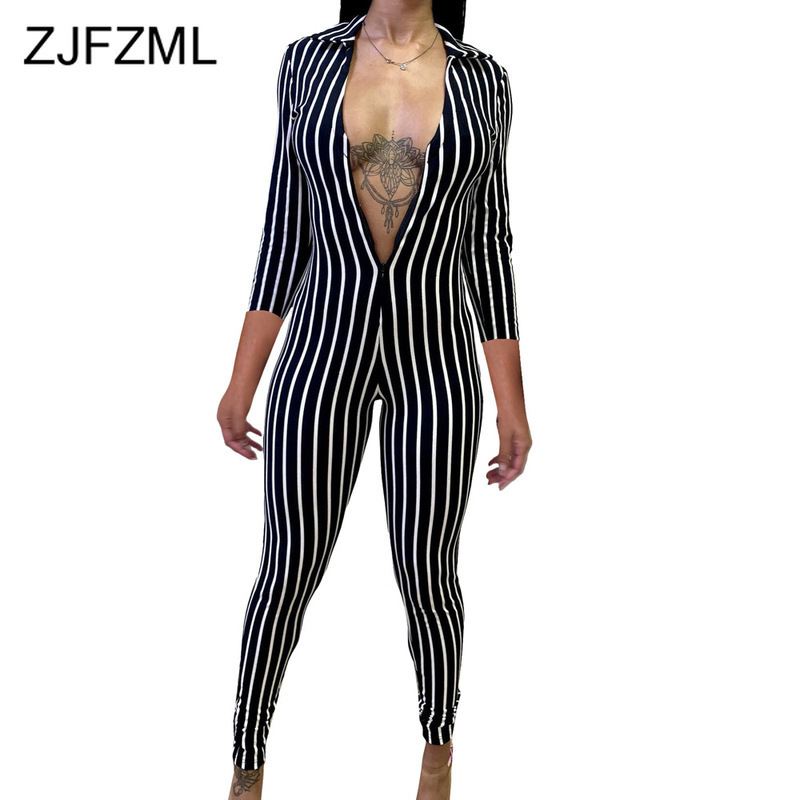 Vertical Striped Sexy Fitness Jumpsuit Women Turn Down Collar Long Sleeve Bodycon Romper Casual Front Zipper Club Party Bodysuit
