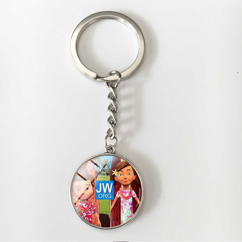 Suteyi Jehovah's Witnesses Picture Dome Glass Keychain Best Life Ever Jw Org Gift Silver Chain keyring Jewelry Women And Men