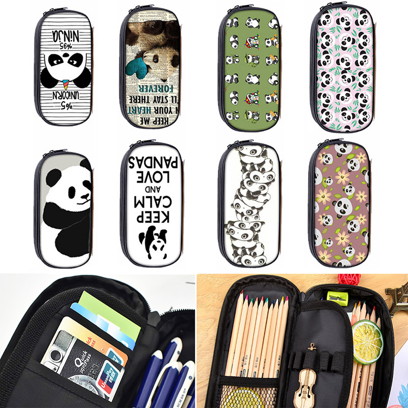 Cute Kawaii Panda Fabric Pencil Bag Cartoon Zipper School Pencil Case For Kids Korean Stationery Student