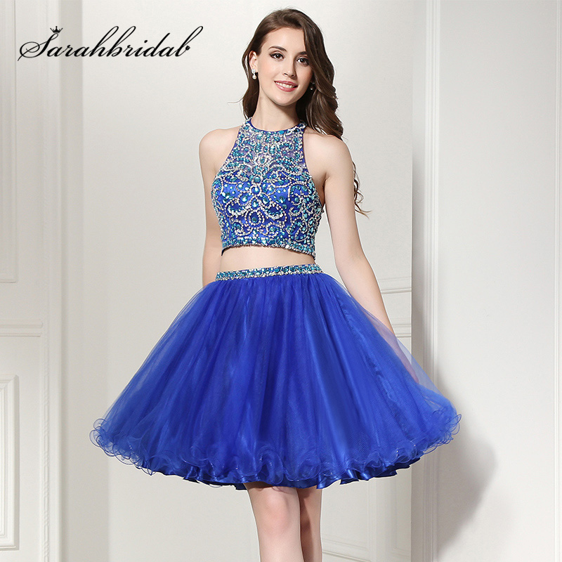 Summer Short Shining 2 Piece Homecoming Dresses Cocktail Gown Luxury Crystal Beaded Haler Neck Puffy Sexy Prom Party Dress OL206