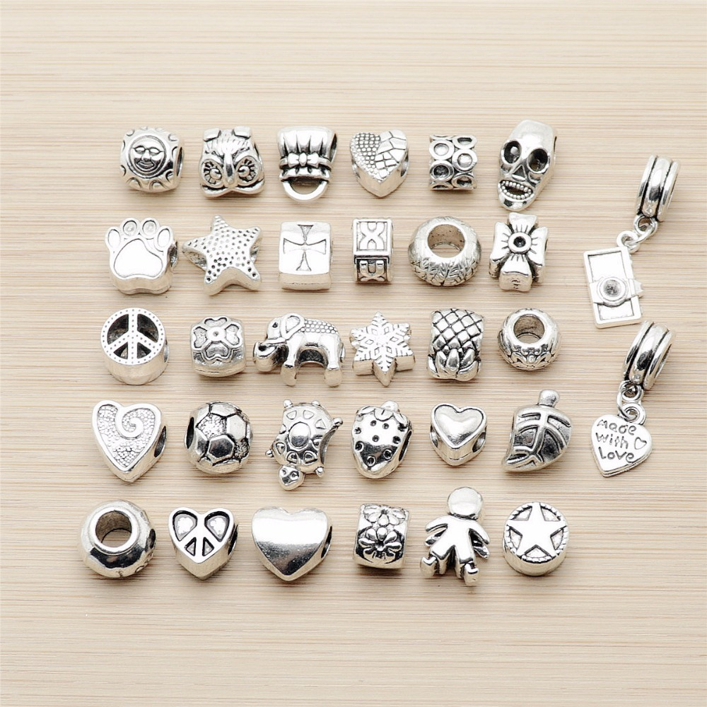 Mix 32pcs Vintage Bead Charms big hole Beads European pendant fit for pandora style bracelet DIY pendants(China)