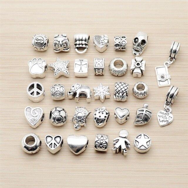 Mix 32pcs Vintage Bead Charms big hole Beads European pendant fit for pandora style bracelet DIY pendants