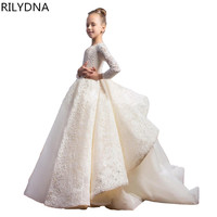 New Arrival Little Girl Ball Gown Scoop Appliqued Glitz Pageant 2018 Flower Girls Dresses Long For Children Prom Gown