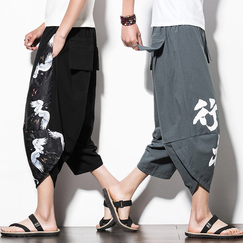 Men's Summer Comfortable Loose Beach Pants 2020 New Brand Men And Women Can Wear High Quality Cotton Linen Flowers Pants