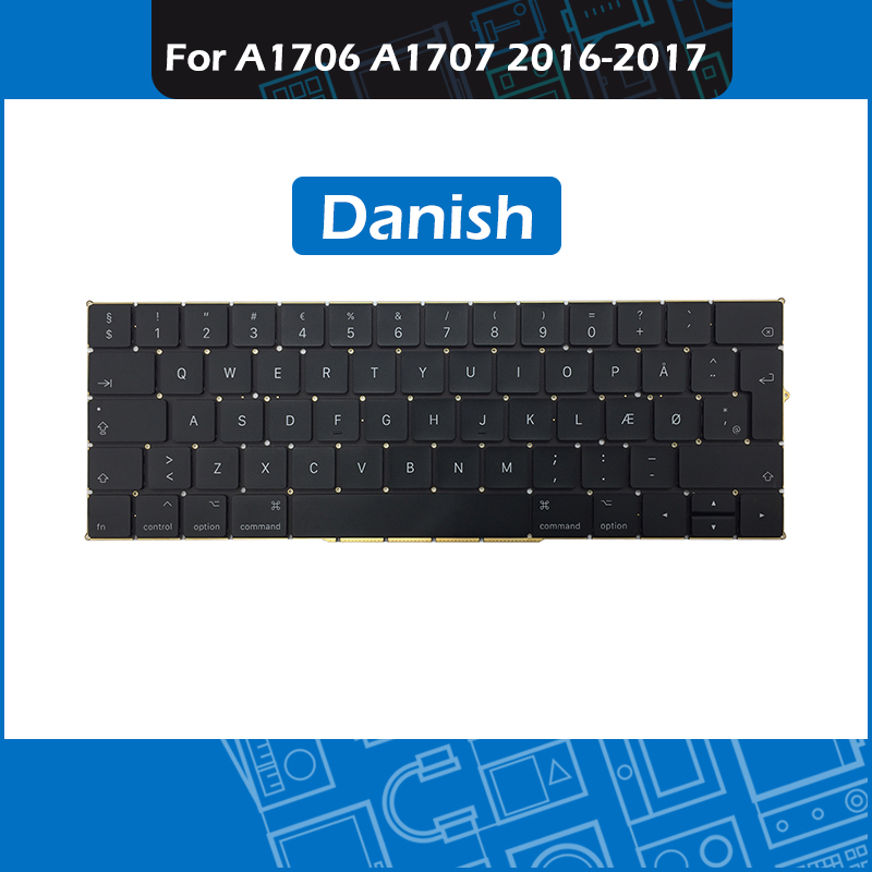 Laptop A1706 A1707 Replacement Keyboard DK Danish Layout For Macbook Pro Retina 13 15 Touch Bar