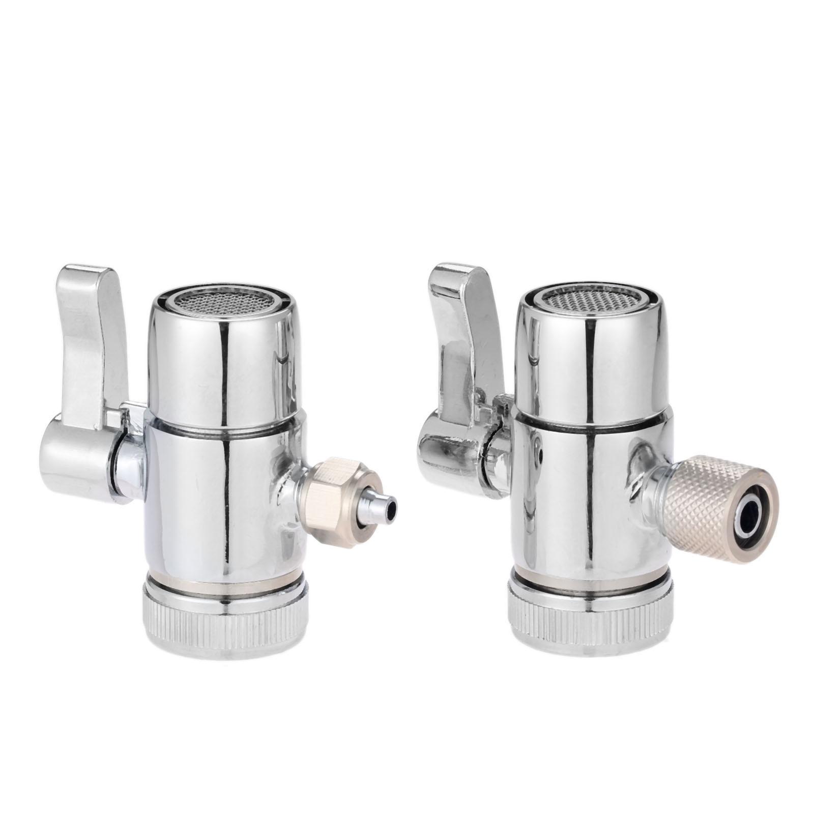 Stainless Steel Faucet Adapter Diverter Valve Countertop Water Filter 1//4