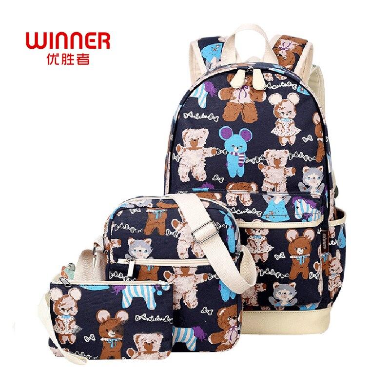 WINNER 3Pcs set Fashion Printing backpack Women Canvas Bag Laptop Backpacks For Teenage Girls Mochilas Big