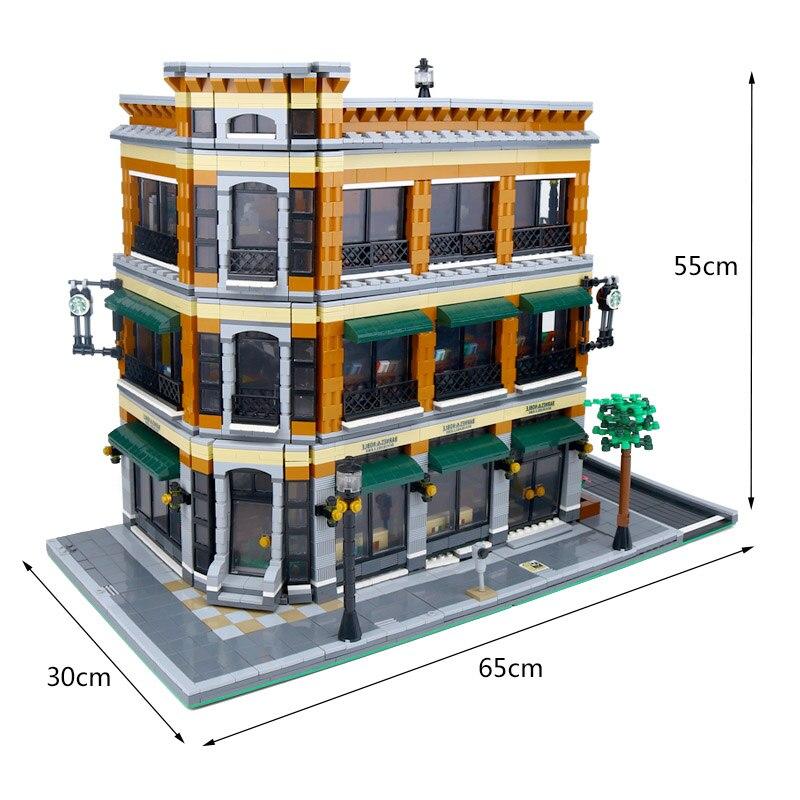 DHL 15017 Compatible avec Expert ville Street View 4616 pièces librairie café ensembles modèle Kits de construction blocs briques jouets cadeaux