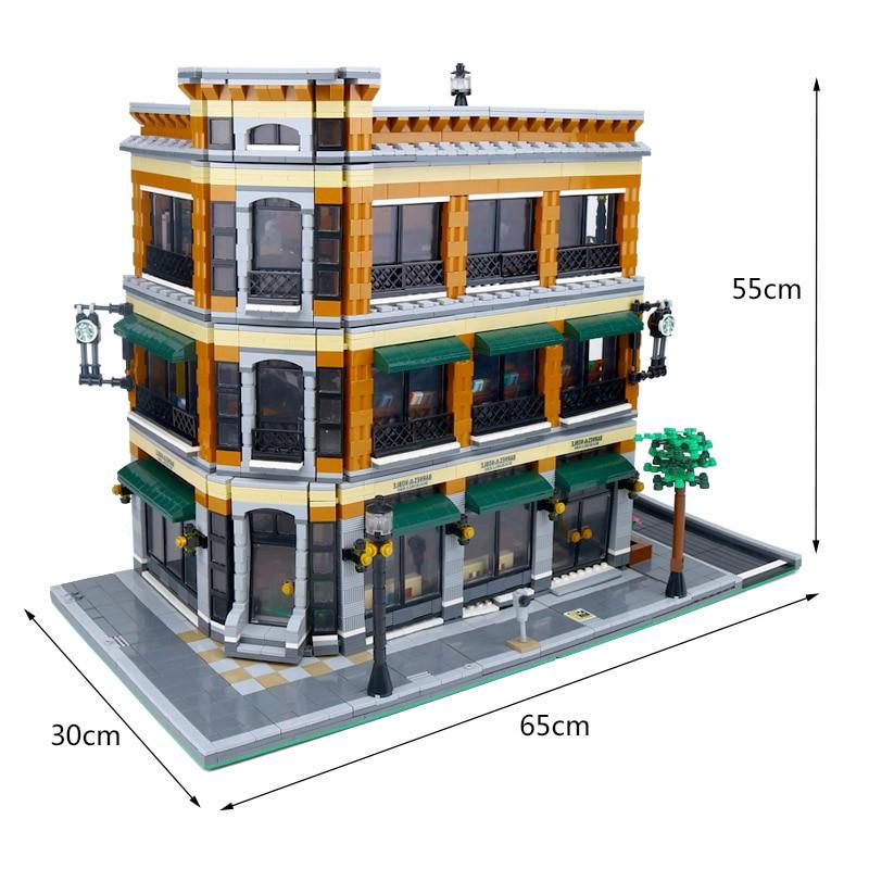 DHL 15017 ใช้งานร่วมกับ Expert City Street View 4616 PCS Bookstore Cafe ชุดอาคารชุดอิฐบล็อกของเล่นของขวัญ-ใน บล็อก จาก ของเล่นและงานอดิเรก บน   2