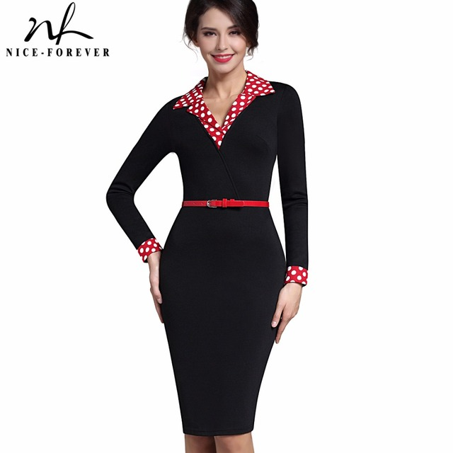 Nice-forever Vintage Elegant Turn-down V-collar Work dress Office Bodycon Full length Sleeve Patchwork Sheath Woman Dress B334