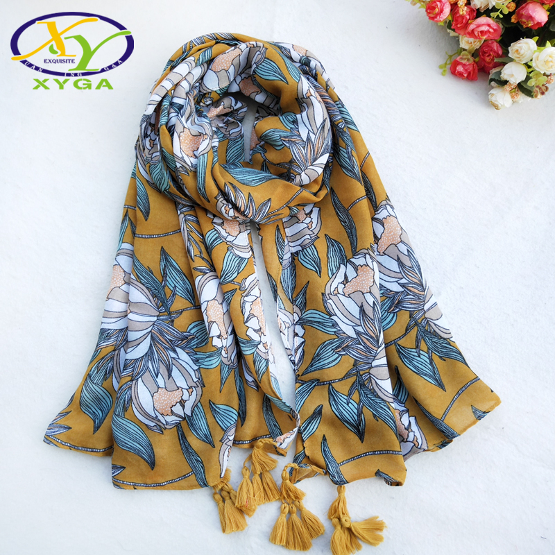 1pc New Flower Cotton Women Long Ethnic   Scarf   Fringes   Scarves   Spring Soft Lady Viscose Pashminas Thin Summer Shawl Tassel   Wraps