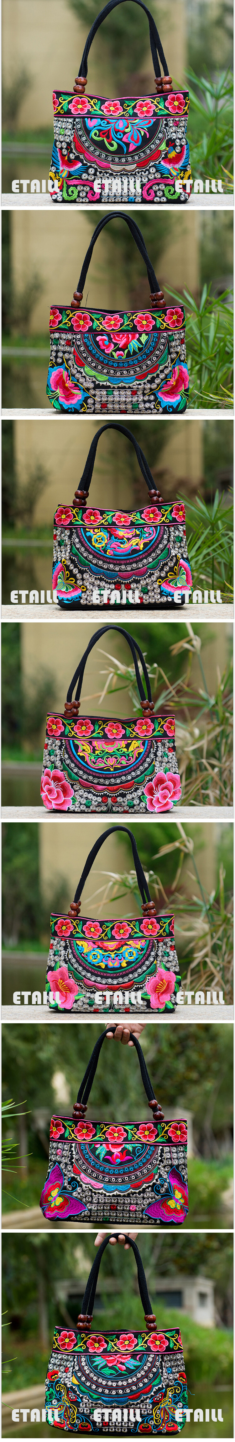 Embroidered shoulder handbag