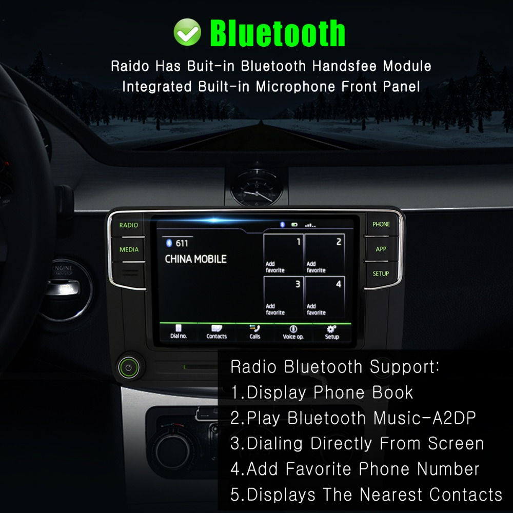 Green Android Auto Carplay Noname RCD330G RCD330 Plus Green Button Car Radio 6RD 035 187B  For Skoda Octavia Fabia Superb Yeti