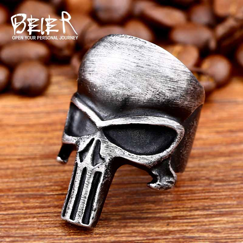 Beier 316L Stainless Steel Hot Sale Punisher skull ring punk biker Quality fashion wholesale ring jewelry LR495