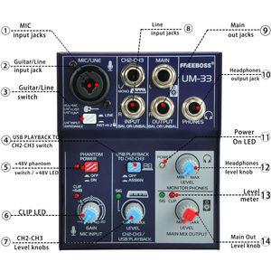 Image 3 - Freeboss UM 33 3 채널 입력 마이크 라인 삽입 스테레오 USB 재생 USB 인터페이스 오디오 믹서