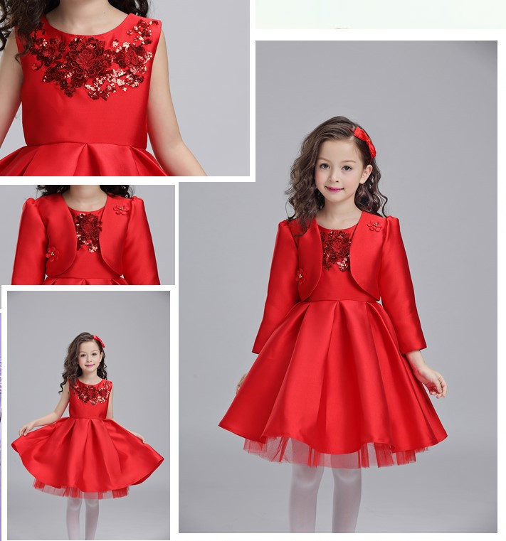 2piece Formal Princess Girls Party Dresses Red Tulle Girls ...
