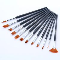High Grade Dark Blue Oil Painting Pen Brush 12pcs Watercolor Painting Brush Set High Quality Landscape Paint Brushes