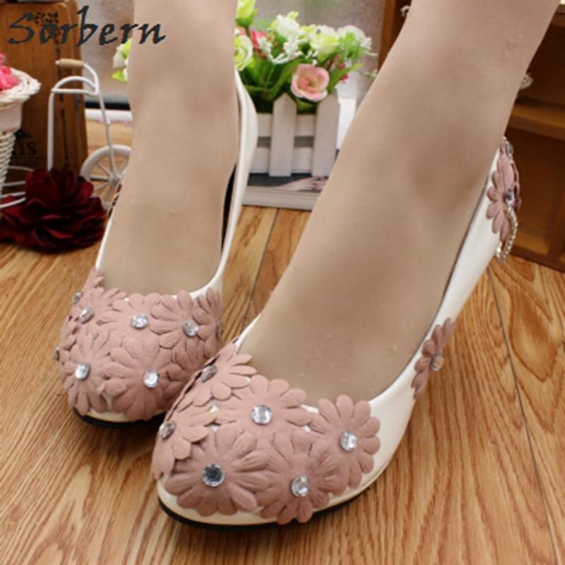 Sorbern Pale Mauve Flower Wedding Shoes 8Cm High Heel Crystals Green Flowers Bridal Shoes Slip On Platform Ladies Heel Size 7