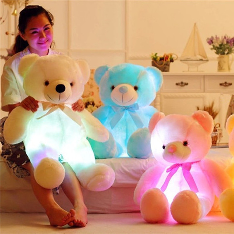 Fashion Creative Light Up LED Teddy Bear Children Stuffed Animals Plush Toy Colorful Glowing Teddy Bear Christmas Gift for Kids image