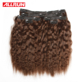 6 Pcs/Set Kinky Straight Hair Weave Color 2# Peruvian Hair Clip In Vet And Wavy Allrun Clip In Human Hair Extensions