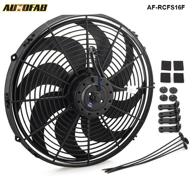 Racing Car Universal 12v 16 Electric Fan Curved S Blades Radiator Cooling For Oil Cooler Af Rcfs16f