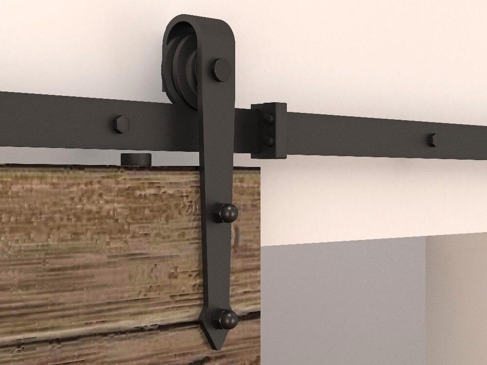 5FT-8FT Rails de porte de grange flèche roue noir rustique simple porte coulissante de grange système de voie de porte matériel de voie coulissante Kit piste