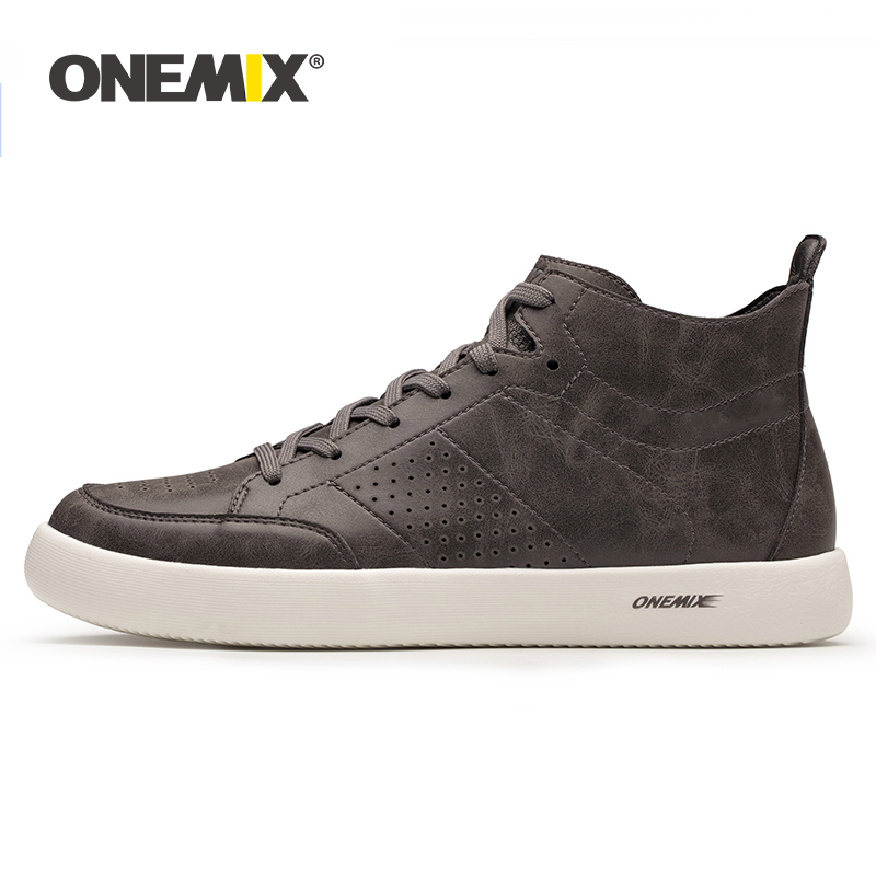 ONEMIX 2019 New Casual Oxfords Leather Men Skateboard Shoes Lightweight Cool Flats Sneakers For Walking Jogging