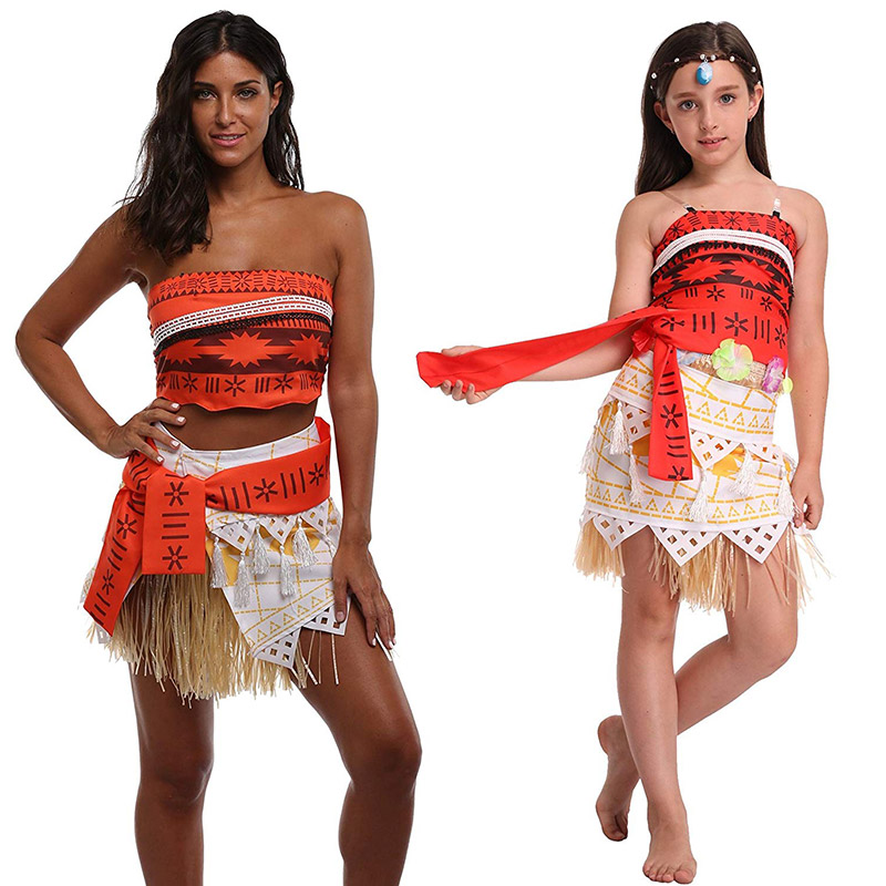 Youngsters Grownup Moana Cosplay Prime and Skirt Clothes Set Vaiana Journey Outfit Women Princess Moana Gown Seaside Social gathering Put on Costume Clothes Units, Low-cost Clothes Units, Youngsters Grownup...