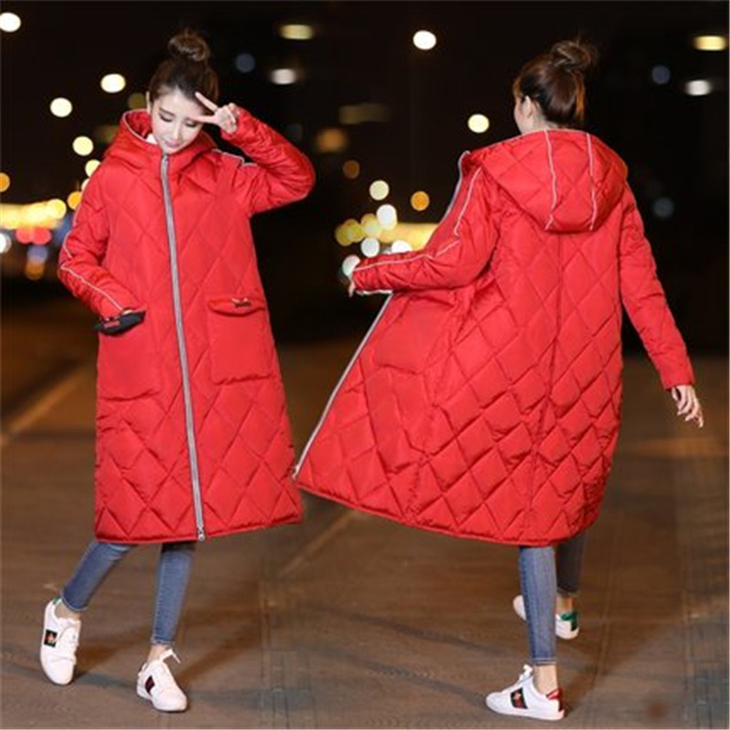 Long section of the knee clothes 2017 winter new loose students cotton thick coat hooded winter jacket women tide BP3509 yagenz 2017 new winter big collar cotton women in the long section of loose bread clothes female cotton jacket thick coat