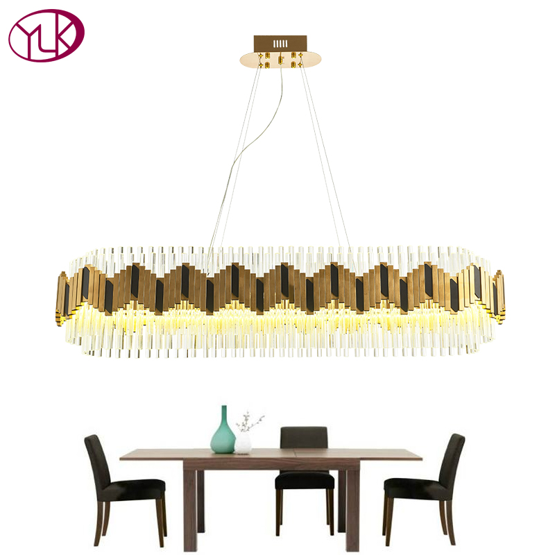 купить Youlaike Luxury Crystal Chandelier Modern Rectangle Gold Chandeliers Lighting Dining Room Suspension Lustre LED Hanging Lamp недорого