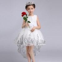 ファッションの女の子プリンセスフラワードレス結婚式パーティーウエディング服キッズ弓末尾レース高