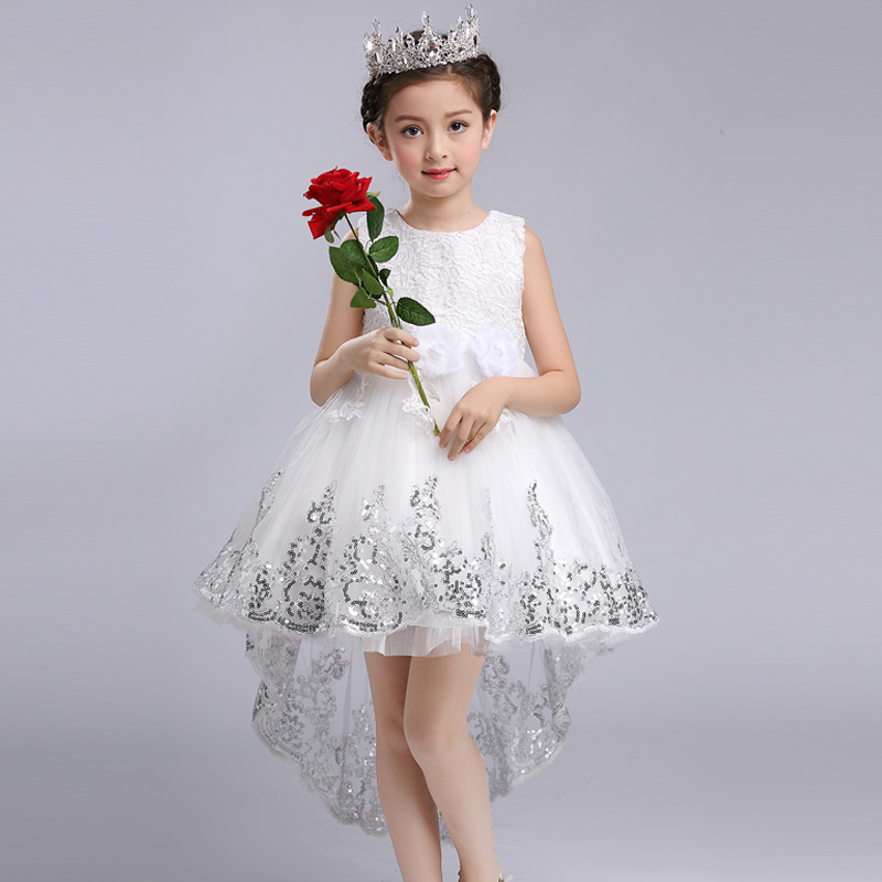 Fashion Girls Princess Flower Dress Wedding Party Prom Clothes Kids Bow Trailing Lace High Low Dress White Tutu Dress Vestidos