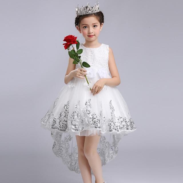 87bb234843903 Moda Kız Prenses Çiçek Elbise Düğün Parti Balo Elbise Çocuklar Yay Firar  Dantel Yüksek Düşük Elbise