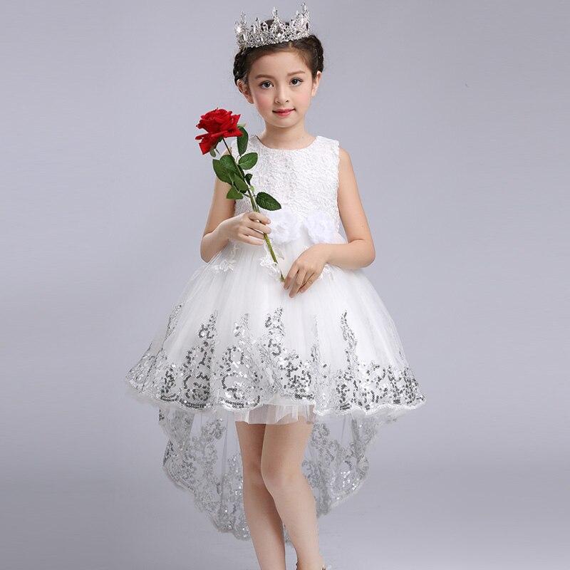 cdb9d491dfe92 Mode Filles Princesse Fleur Robe De Mariage Parti Vêtements Enfants Arc  Fuite Dentelle Haut Bas Robe De Bal Blanc Tutu Robe Robes