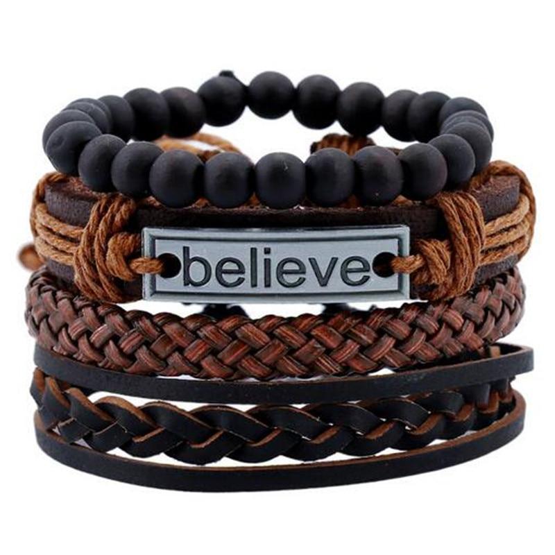 2019 Armbanden En Armbanden Heren Lederen Armbanden Charm Pulseira Masculina Sieraden Geloven Zwarte Steen Kralen Bileklik Pulseiras Aantrekkelijke Mode
