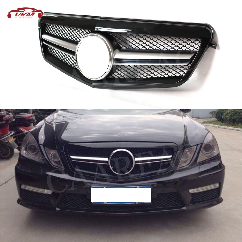 ABS Front Grille Cover For <font><b>Mercedes</b></font> Benz <font><b>W212</b></font> E Class E200 E250 E350 AMG 2010-2013 Diamond Style Bumper Racing <font><b>Grill</b></font> Mesh Frame image