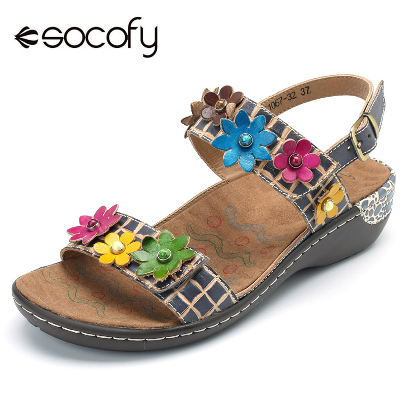 Socofy Genuine Leather Shoes Woman Bohemian Sandals Vintage Flower Hook&Loop Slingback Sandals Summer Beach Casual Women Shoes socofy bohemian genuine leather shoes women sandals vintage printing forest hook loop wedge heel women slippers summer new