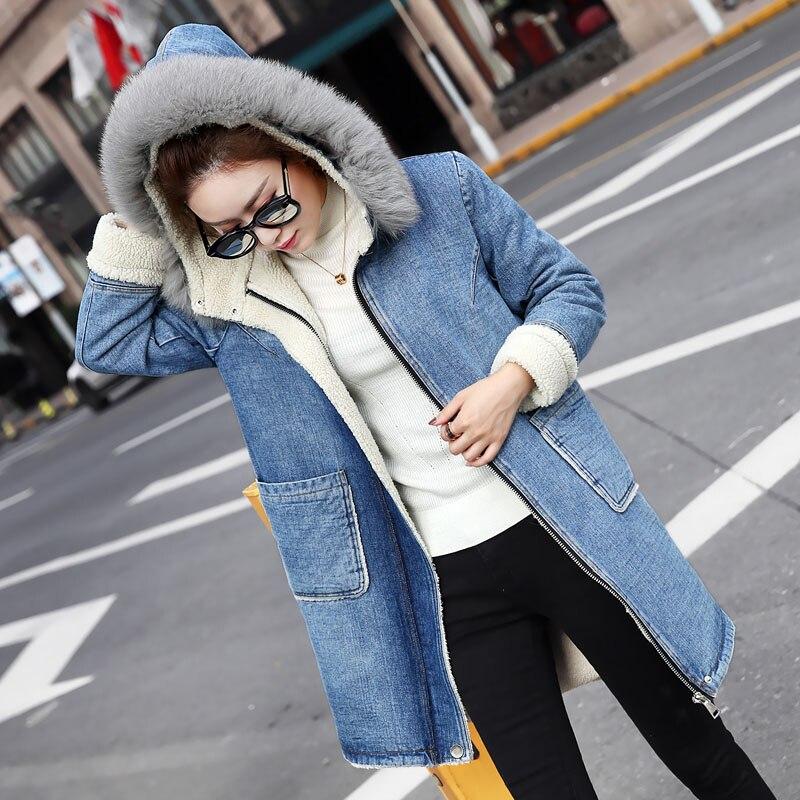 Vestes Col Veste Dames D'hiver Femmes Manteau Capuchon De Vêtements Bleu Laine Fourrure Européenne Chaud Artificielle Doublure Grand Femme À Long YpxwTFwvn