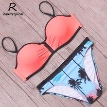 Raintropical, новинка, сексуальное Сетчатое бикини, пуш-ап, купальник для женщин, купальник с рисунком кокосовой пальмы, летние пляжные купальники, комплект бикини
