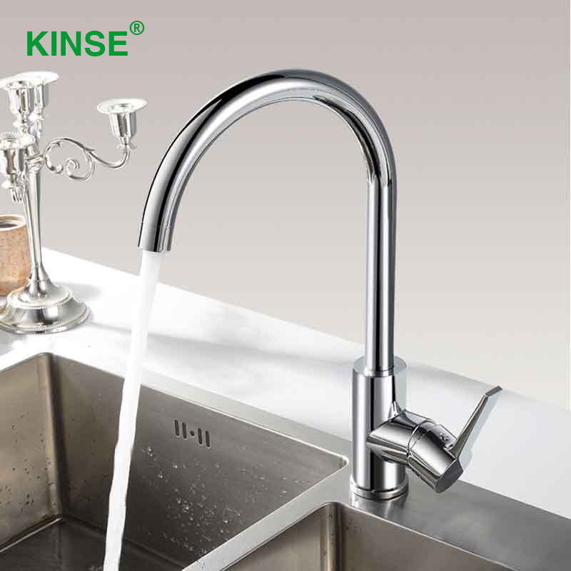 KINSE Brass Material Chrome Kitchen Faucet Right Left Rotation Kitchen Faucet Mixer