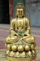 """Bir 006737 12 """"Çin Tapınağı Saf Bronz Shakyamuni Sakyamuni Tathagata Buddha Heykeli Boncuk Statü ve Heykelleri Ev ve Bahçe -"""