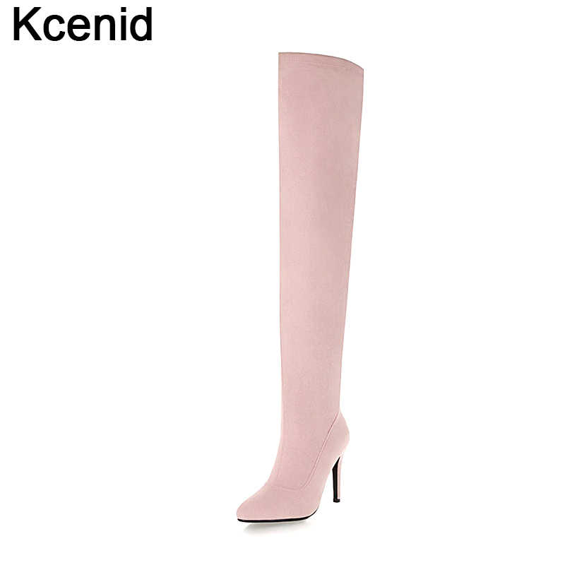 dde3dba67ba Kcenid Winter flock shoes women thigh high boots stilettos sexy over the knee  boots pointed toe
