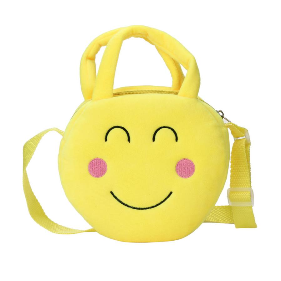 Yellow Optional Cute Emoji Emoticon Plush backpack toys for children Shoulder Round Child Backpack Satchel Rucksack