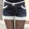 2015 outono e inverno roupas soltas grandes estaleiros além de veludo denim shorts feminino era magro de pelúcia bordas laterais calças maré punhos